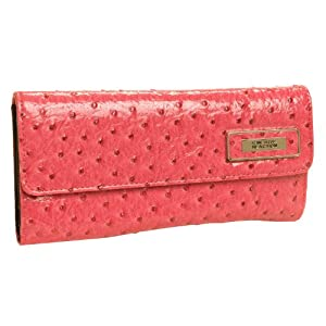 Kenneth Cole Reaction Coral Pink Patent Ostrich Tri Me A River Wallet w/ Logo Lining