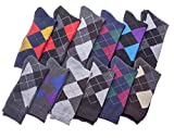 Mens Dress Socks Argyle Cotton Color Variety 10-13 12 Pair