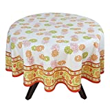 "70"" Round Tablecloth - Exquisite Green, Orange, And Yellow Floral Cotton - Handmade Indian Linen"
