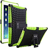 ULAK Impact Resistant Hybrid Dual Layer Case Cover with Built-in KickStand for Apple iPad Air 5th Gen 2013 (Black/Green)