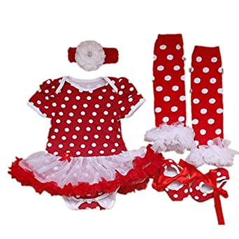 SDBING 4PCS Set Red Newborn Infant Baby Girl's Party Dresses