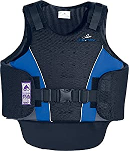 Gilet de protection EQUI-THÈME adultes - avant noir/gris/bleu-ciel, arrière noir/gris - ex-large