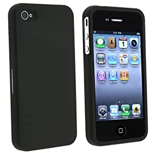 eForCity HARD RUBBER CASE COVER COATING Compatible with iPhone® 4 4G iPhone® 4S - AT&T, Sprint, Version 16GB 32GB 64GB BLACK