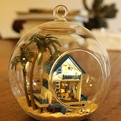 Singeek Mini Romantic Love Sea, Hanging Wooden House Model, DIY Glass Ball Doll House Model,Miniature Dollhouse Toy Birthday Christmas Gift Gift (Seeing And Making In Architecture compare prices)