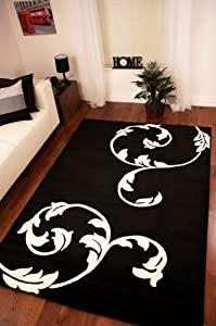 Striking Black and Cream Simple Flower Design Rug 6 Sizes Available from The Rug House