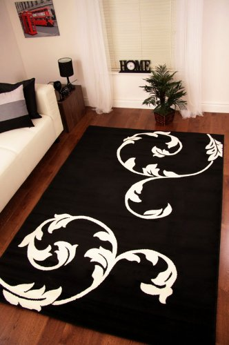 Striking Black and Cream Simple Flower Design Rug 190cm x 280cm (6ft 3