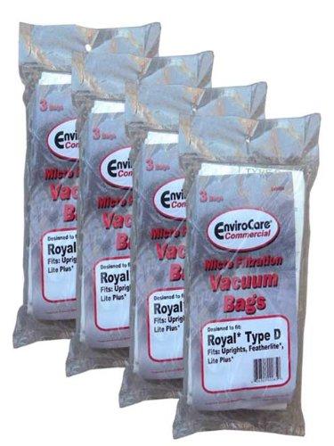 12 Type D Commercial Royal Dirt Devil Vacuum Cleaner Bags 3-670147-001, 3670075001, Rg3-920750-001 Featherlite, Classic, Lite Plus, Regina, Lite Uprights, Sensation, Select, Profile, Toughmate, Extra Hp, Impulse, front-4073