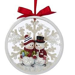 Kurt Adler Snowman Couple Our 1st Christmas Together Disc Ornament - C8890