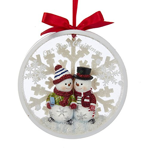 Kurt Adler Snowman Couple Our 1st Christmas Together Disc Ornament - C8890