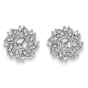 14k White Gold Diamond Flower Earrings Jacket - JewelryWeb