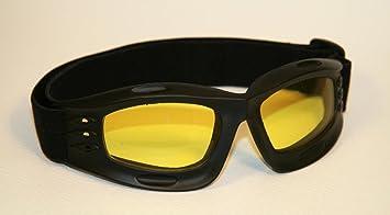 Lunettes de moto noir, lentilles teinté en jaune, monture de lunettes noir,  SBR caoutchouc   fc076d7f365c