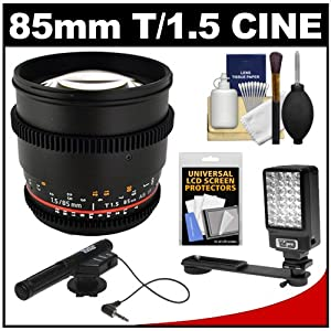 Rokinon 85mm T/1.5 Cine AS IF MF Telephoto Lens (for Video DSLR) with Microphone + LED Light & Bracket + Accessory Kit for Canon EOS 60D, 6D, 7D, 5D Mark II III, Rebel T3, T3i, T4i Digital SLR Cameras