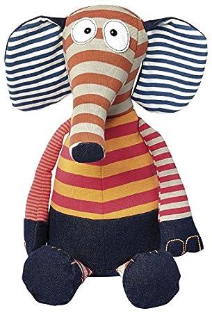 sigikid 38462 fille et garçon, peluche doudou éléphant, rayé multicolore, taille 37 cm, 'Sweety'