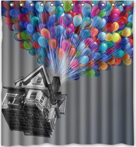 abigai Colorful Hot Air Balloons Theme Print 100% Custom Printed Waterproof fabric Polyester Bath Curtain Bathroom Decor Shower Curtain 66