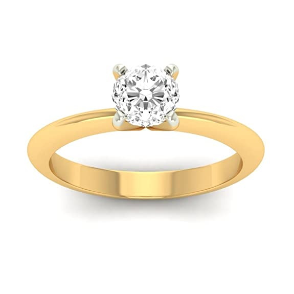 18K Yellow Gold 0.25cttw Round-Cut-Diamond (F-G Color, VVS Clarity) Diamond Ring