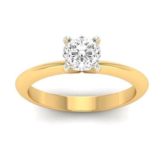 18K Yellow Gold 0.25cttw Round-Cut-Diamond (F-G Color, VVS Clarity) Diamond Ring