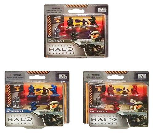 Mega Bloks Halo Universe Die Cast Metal Series Mini Figures Battle Pack Bundle Set includes: Battle Pack I [Green], Battle Pack II [Blue], Battle Pack III [Red] (1 of Each)