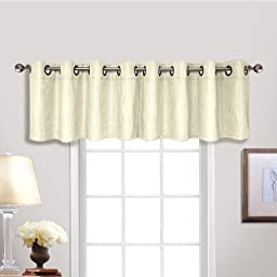 United Curtain Hamden Woven Waffle Grommet Valance, 54 by 18-Inch, Ivory