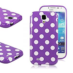 Purple Polka Dots TPU Gel Case Cover Protect Skin for Samsung Galaxy S4 IV i9500 i9505