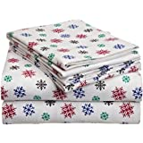 Pointehaven Heavy Weight Printed Flannel Sheet Set, California King, Snow Flakes Multi Color