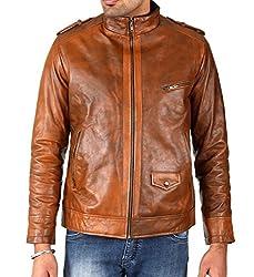 Shagoon Emporium Men's Leather Jacket(sh0033_Brown_Large)
