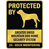 "PROTECTED BY "" GREATER SWISS MOUNTAIN DOG HOME SECURITY SYSTEM "" PARKING SIGN DOG"