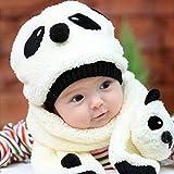 Mokingtop Children Hat 100% Wool Hat+Scarf Two Piece Set Panda Children Animal Cap