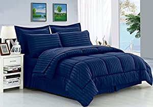 Elegant Comfort® Wrinkle Resistant - Silky Soft Dobby Stripe Bed-in-a-Bag 8-Piece Comforter Set --HypoAllergenic - Full/Queen, Navy Blue