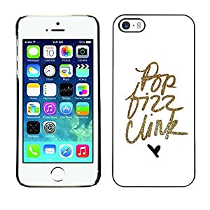 Omega Covers - Snap on Hard Back Case Cover Shell FOR Apple iPhone 5 / 5S - Pop Text Gold Glitter Minimalist Hear White