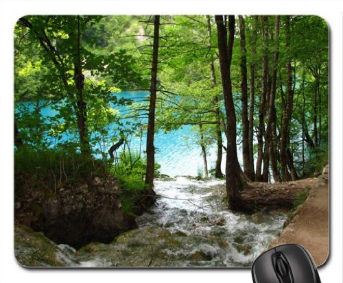 forest brook falling into the lake Mouse Pad, Mousepad (Lakes Mouse Pad)