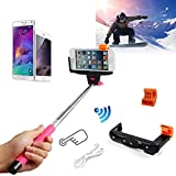 URPOWER Rechargable Selfie Stick with Wireless Bluetooth Remote Button Shutter Extendable Self Portraits Pole Handheld Monopod For iPhone 6 6 Plus 5 5S 5C 4 4S Samsung Galaxy S2 S3 S4 S5 Note 2 Note 3 Note 4, HTC One M7 M8, Google Nexus 4 5, LG G2, Sony Xperia Z1 Z2 Compatble for Smart Phones Compatible with IOS 4.0/ Android 3.0 and above system