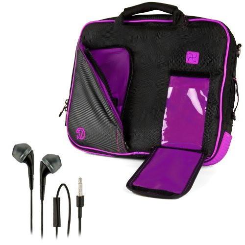 Vangoddy Pindar Sling - Black Purple Plum Pro Deluxe Shoulder Messenger Carrying Bag For Apple Macbook Pro 13 Retina Display & Air 13 Inch + Black Hands-Free Earphones Headphones W/ Microphone