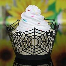 12pcs Papel Envoltura de Magdalena Torta Pastel Patrón Tela de Araña Color Negro