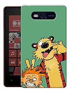 """Humor Gang Cute Boy And Tiger Printed Designer Mobile Back Cover For """"Nokia Lumia 820"""" (3D, Matte, Premium Quality Snap On Case)"""