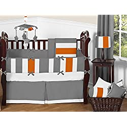 Sweet Jojo Designs Modern Gray and Orange Stripe Print Boys Baby Bedding 9 Piece Crib Set with bumper