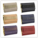 Faux stud Leather fashion designer women party evening clutch bag L009#