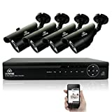 [TRUE 960p ProHD] SMART CCTV System, KARE 1080N DVR Recorder with 4x Super HD 1.3MP Outdoor Cameras (P2P Technology, 1280x960 Bullet Cam Even Better Than 720P, Rapid USB Storage Backup, Vandal and Water-Proof Body, Night Vision, Mobile App: Xmeye)