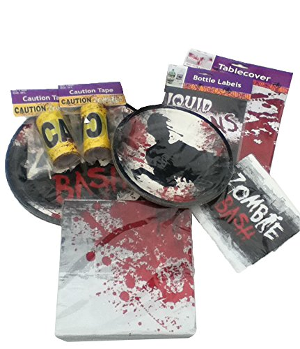 Zombie-Party-Pack-63-Pieces-TablewareTableclothCaution-Tape-Drink-Bottle-LabelsParty-SuppliesHalloweenBirthday