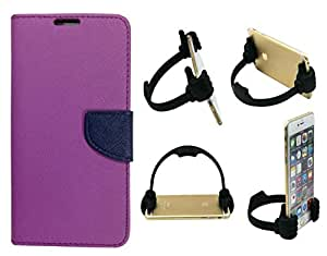 Novo Style Book Style Folio Wallet Case Xiaomi MI4I Purple + Ok Stand For Smartphones And Tablets