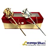 Lavanaya Silver & Gold Rose Set 6'With velvet Box (19.0 Cm x 6.5 Cm x 7.0 Cm)