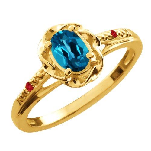 0.57 Ct Oval London Blue Topaz Red Rhodolite Garnet 18K Yellow Gold Ring