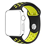 OULUOQI Apple Watch Band, Soft Silicone Sport Band 42mm with Ventilation Holes for Apple Watch Nike+, Apple Watch Series, M/L Size ( 42MM - Black / Volt Yellow )