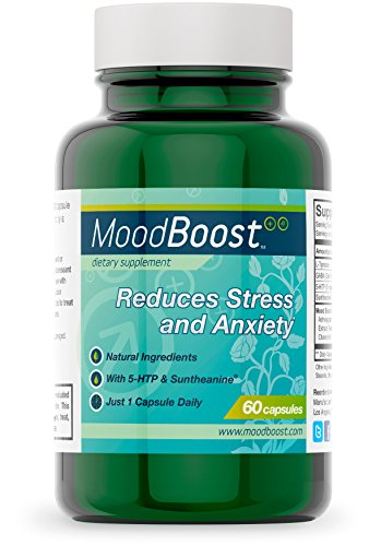Mood Boost Natural Stress and Anxiety Relief (60 Vegetarian Capsules with 5-HTP, Passion Flower, L-Tyrosine, Suntheanine, Ashwagandha and GABA)