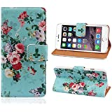 Malloom® 1PC Peony Flower Wallet Stand Leather Cover Case For iPhone 6 (Flower Blue)