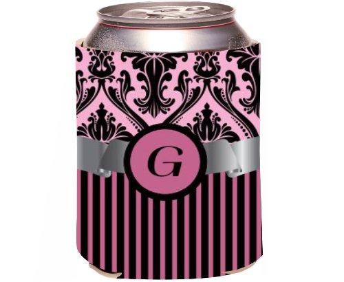 "Rikki Knight Beer Can Soda Drinks Cooler Koozie, Letter ""G"" Initial Monogrammed Design, Damask And Stripes, Light Pink front-646514"