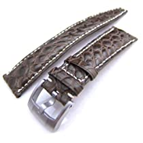 Louisiana Alligator Head Maroon 21mm Watch Strap, Beige Stitches