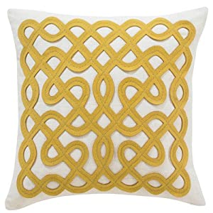 DwellStudio Labyrinth Citrine Pillow, 18 by 18-Inch