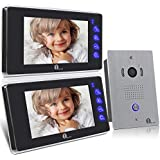1byone VP-0389 LCD Touch Screen Video Doorbell Monitor, 7-Inch, 2 Pieces with Home Security Camera Intercom System