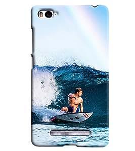 Blue Throat Men Surfing In Sea Hard Plastic Printed Back Cover/Case For Xiaomi Mi4i