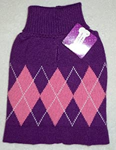"GIRL DOG PURPLE ARGYLE ""UGLY"" SWEATER Christmas Holidays Winter Pet Turtleneck MEDIUM from Horizon"